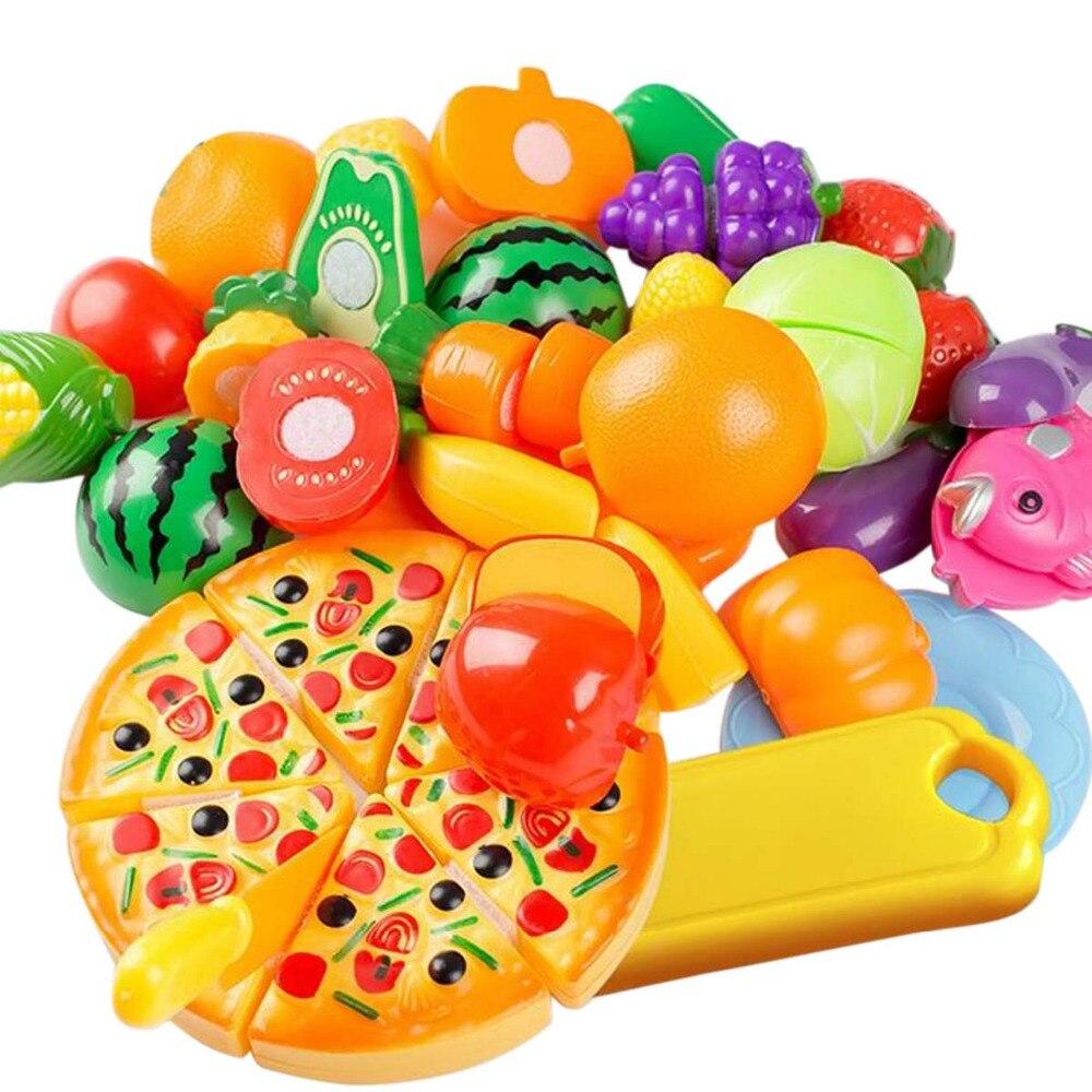 24 pz bambini Cucina Kawaii Giocattolo di Plastica della Frutta di Taglio di Verdure Cibo Pizza Kit Kat In Miniatura Giochi di imitazione Giocattoli Educativi Precoci