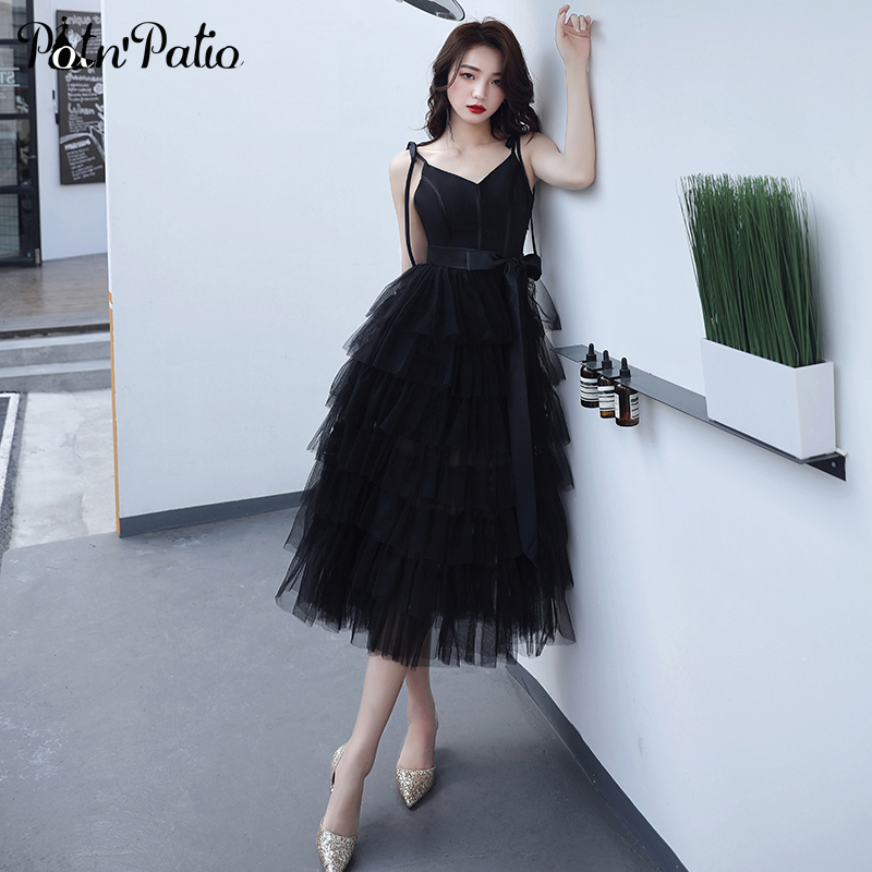 Elegant Sexy Spaghetti Straps Tea-Length Black   Cocktail     Dresses   2019 Summer Tiered Tulle Ball Gonw Porm   Dresses   Plus Size
