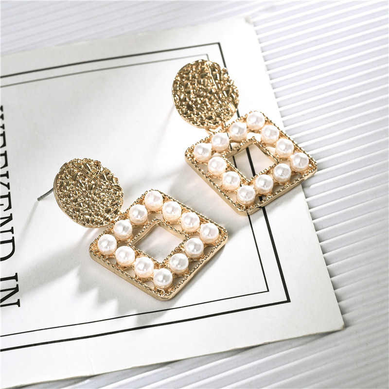 Exquisite Round Geometric Dangle Earrings Imitation Pearls Square Pendant Earrings for Girl Wedding Bride  Party Jewelry