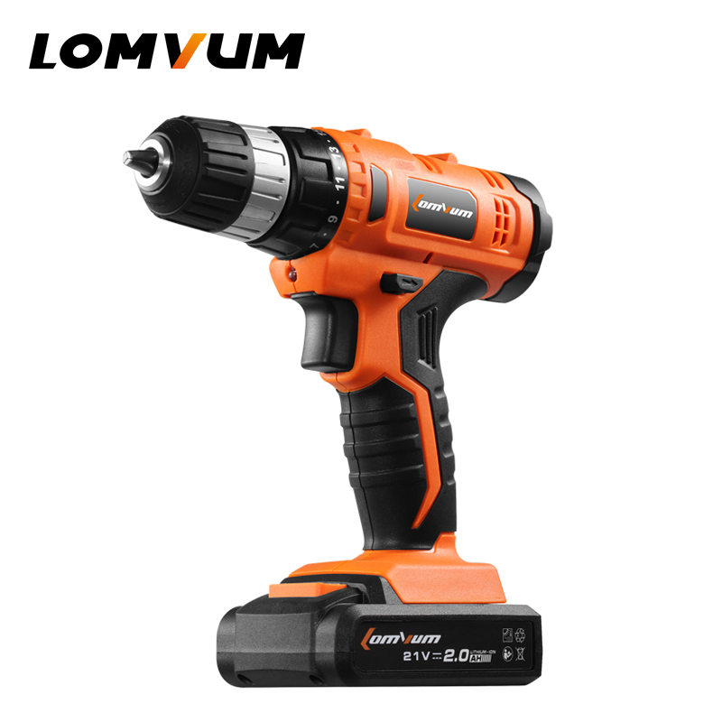 LOMVUM 21V Cordless Rechargeable Lithium Li ion Battery Electric Drill household screwdriver Variable Speed Power Supply