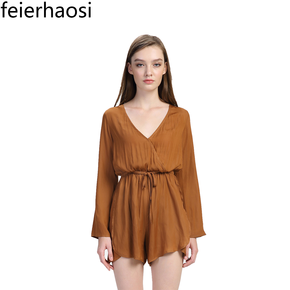 feierhaosi women v neck playsuit bodycon overalls casual bodysuit long sleeve romper with belt clothes jumpsuits for women F1740