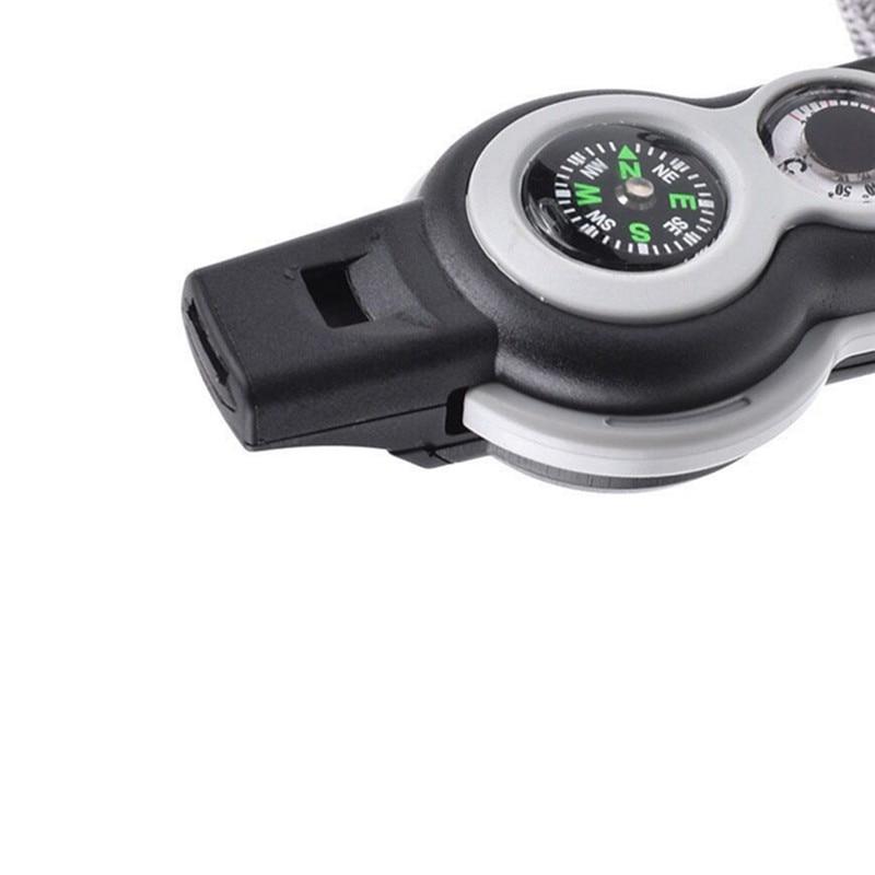 Hot 7 in 1 Kompas Thermometer vergrootglas spiegel LED licht Hoge Decibel Fluitje Outdoor Emergency Survival Tool Metalen - 6