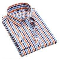 QISHA Hohe qualität 100% Baumwolle männer Klassische Plaid Langarm-shirt Kleid shirt männer Business formale kleidung camisa masculina