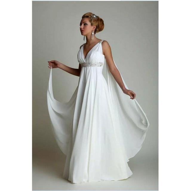 Greek Style Wedding Dresses 2017 Simple Plus Size Chiffon Grecian ...
