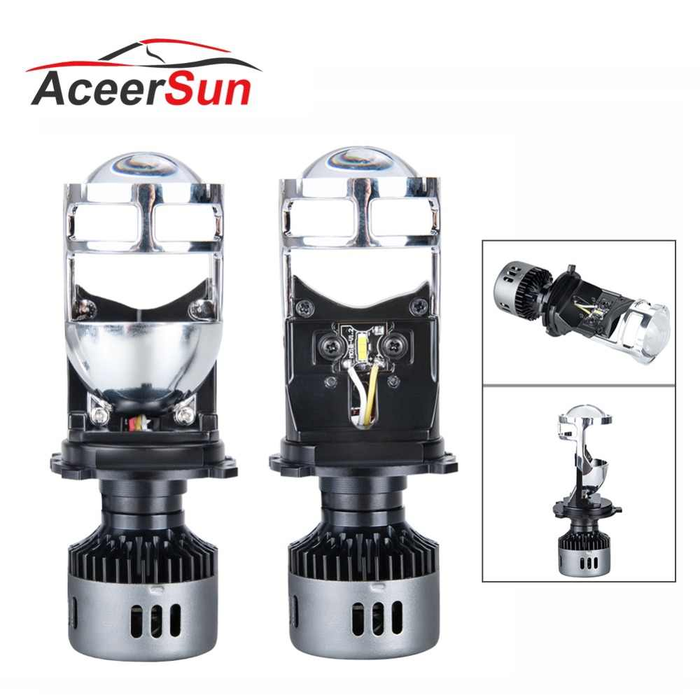 Aceersun H4 LED H4 Spotlight car headlight 6500K Hi L o beam Bulb CANBUS have Mini Projector Lens 48W 9600LM 12V 24V 9003 HB2