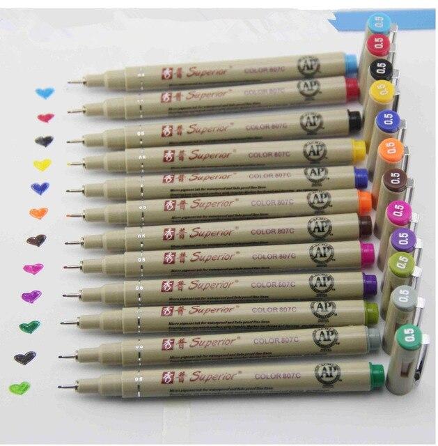 12 colors Drawing design sketch micron pen  0.5mm fineliner