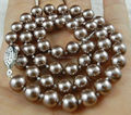 "Free hot new  beautiful Fashion jewelry Natural 8mm Silver Champagne South Sea Shell Pearl Necklace 18""  AAA   sp0343"