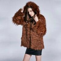 60 см натуральным лисьим пальто с мехом женские коричневый пальто лисы пальто с мехом Куртка с капюшоном FZD M0007