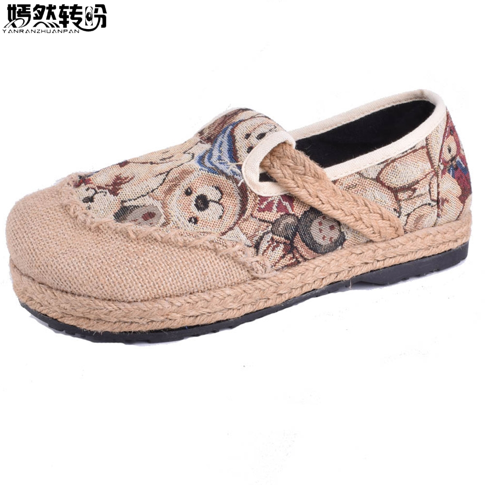 Women Flats Vintage Shoes Cotton Linen Flat Canvas National Embroidery Woven Round Toe Soft Canvas Bear Embroidered 2017 new old beijing boho cotton linen canvas cloth shoes national thailand handmade woven round toe flat shoes with embroidered