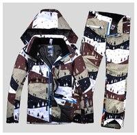 Новый стиль мужчины лыжный костюм ветрозащитная Водонепроницаемая уличная спортивная одежда отдых езда Лыжная куртка + штаны утепленная т