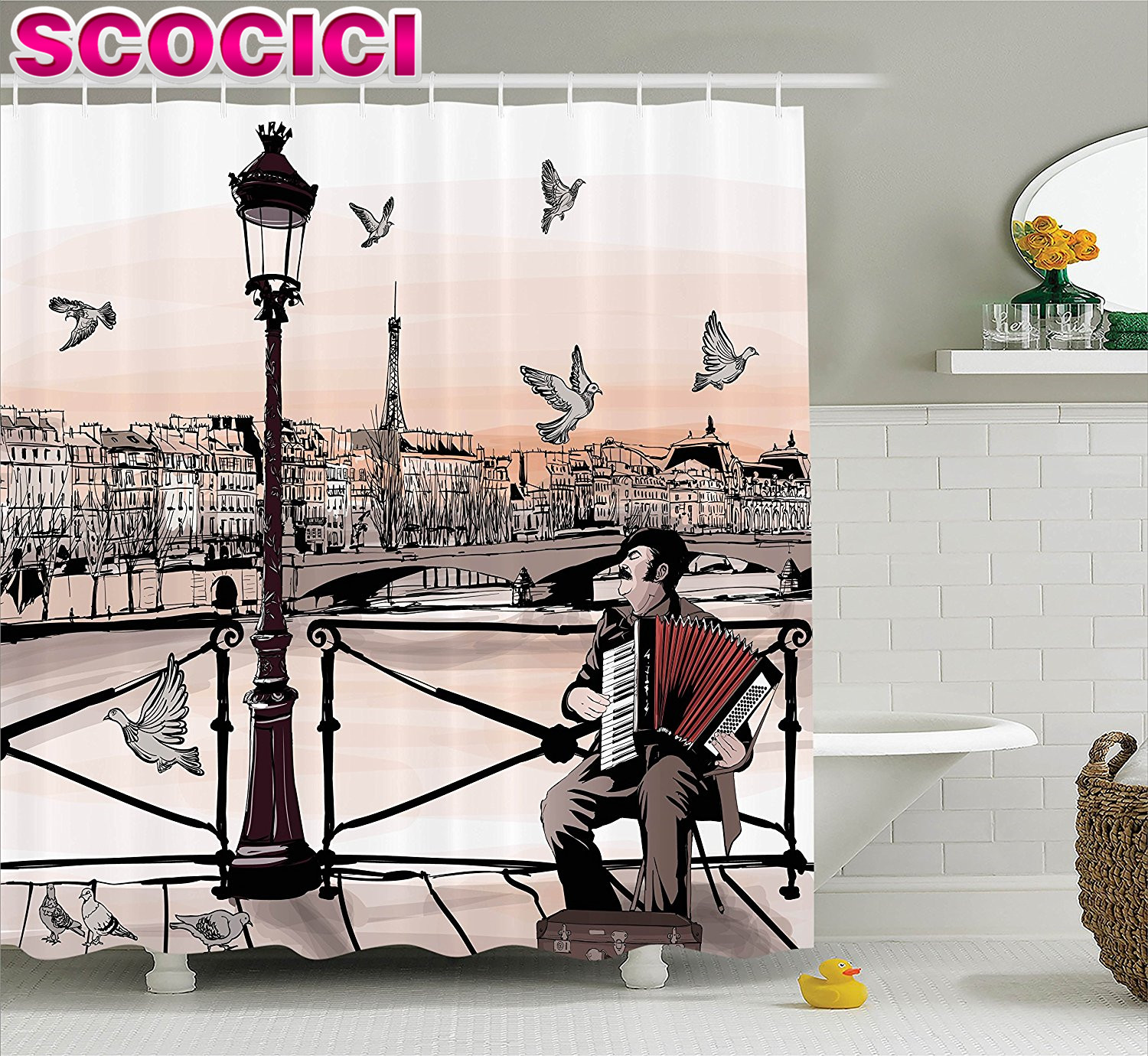 Music bathroom set - Music Decor Shower Curtain Set Accordionist Playing Paris Street Urban European Famous Town City Panorama Graphic Scene Bathroom