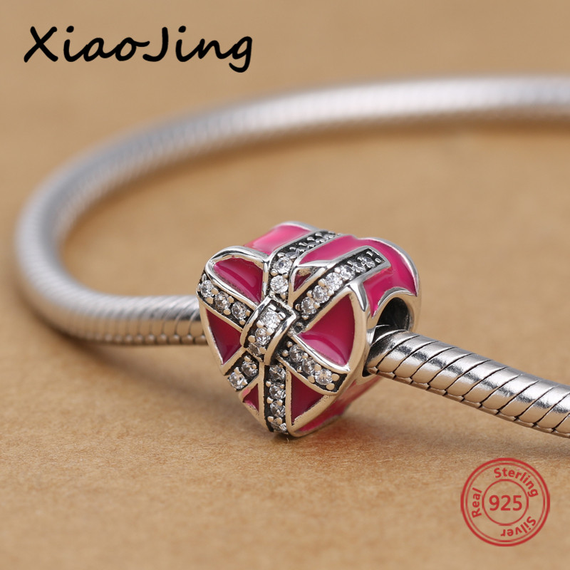 Love heart shape pandora charms silver 925 diy pendant beads with red enamel and CZ original bracelets Jewelry making women Gift