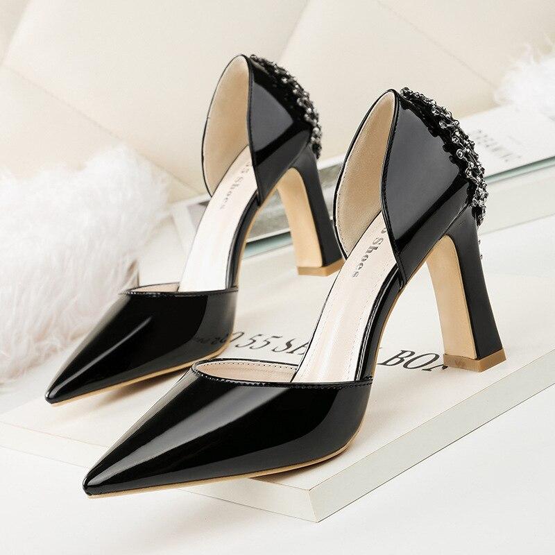 Cuir Mujer 4 Zapatos 1 Pour Bout 2019 Fétiche Pompes Talons Pointu De Hauts Femmes Chaussures En Robe Mariage Verni 3 D'été 2 xfaT8qn