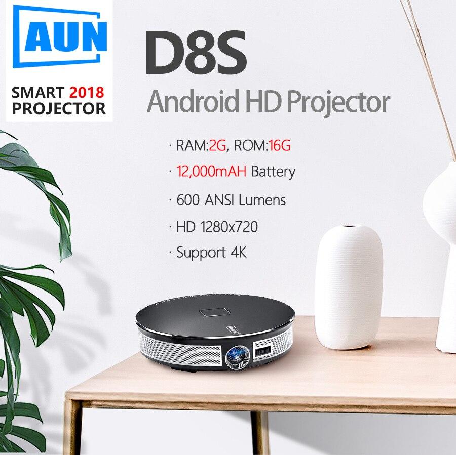 Marca AUN 3D proyector 1280x720 Resolution.12000mAH batería Android WIFI MINI proyector para el teatro en casa de oficina 1080 P 4 K D8S - 2