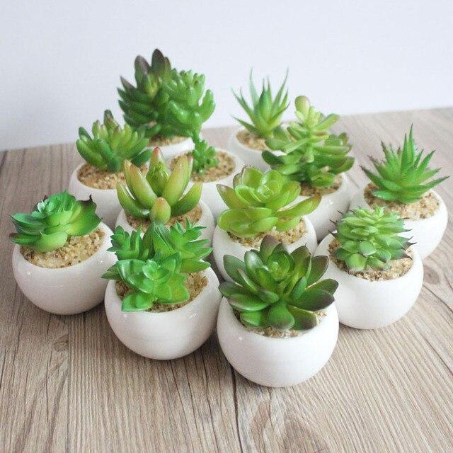 Mini Vaso Verde Artificiale piante succulente Bonsai set Fiore falso vaso di Fio