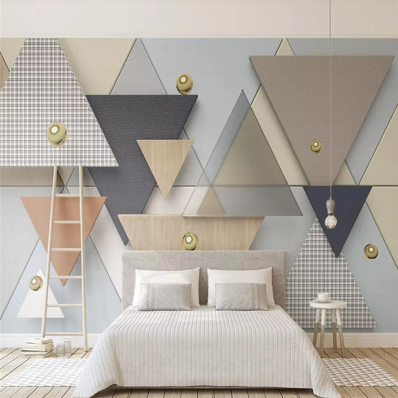 New 3d wallpaper solid geometric triangle plaid cloth stitching background wall custom mural photo