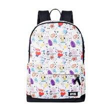 Холщовая задняя Сумка Kpop BTS Bangtan мальчики мультфильм BT21 тот же холщовый рюкзак для подростков девочек Студенческая сумка дорожная сумка для ноутбука