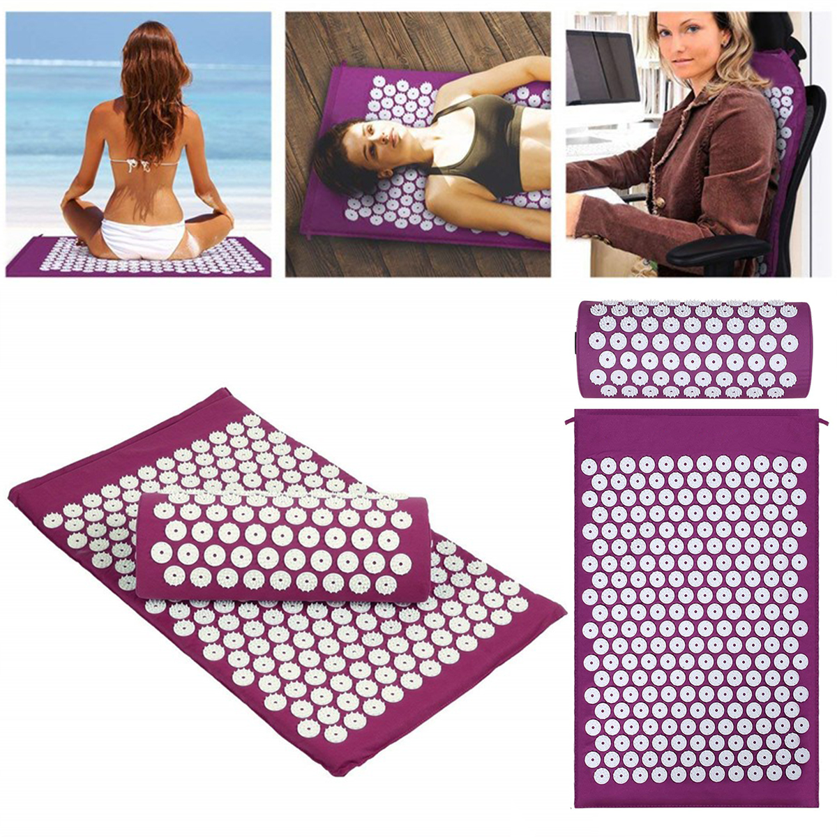 Massager (appro62*38cm)Cushion Massage Mat Acupressure Relieve Back Body Pain Spike Acupuncture Yoga Mat+Pillow