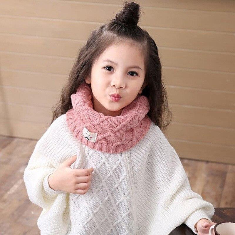Heiße Nette Baumwolle Winter Baby Neck Ring Schal Lics Kinder Mädchen Jungen Gestrickte Wolle O-schals Für Kinder Einfarbig Warme Snood