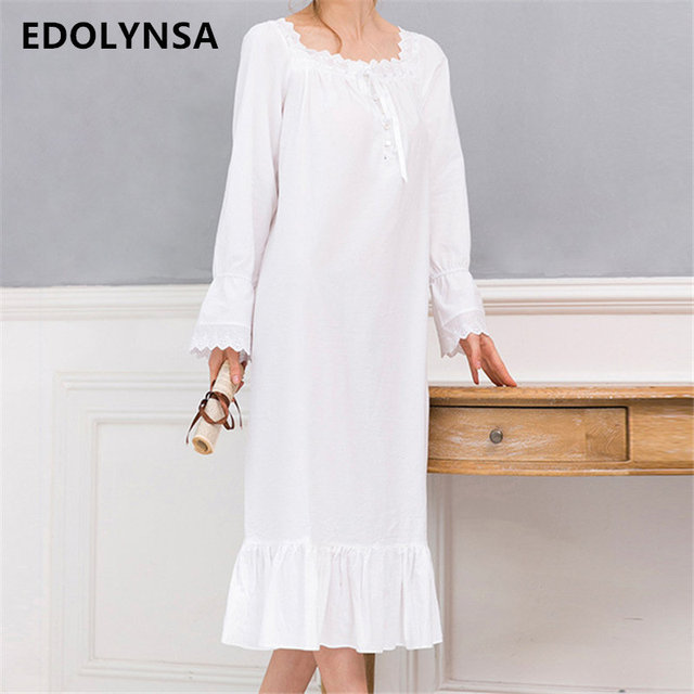 New Arrivals Vintage Nightgowns Sleepshirts Elegant Home Dress Lace Sleepwear Women Sleep & Lounge Soft Cotton Nightgown #H120