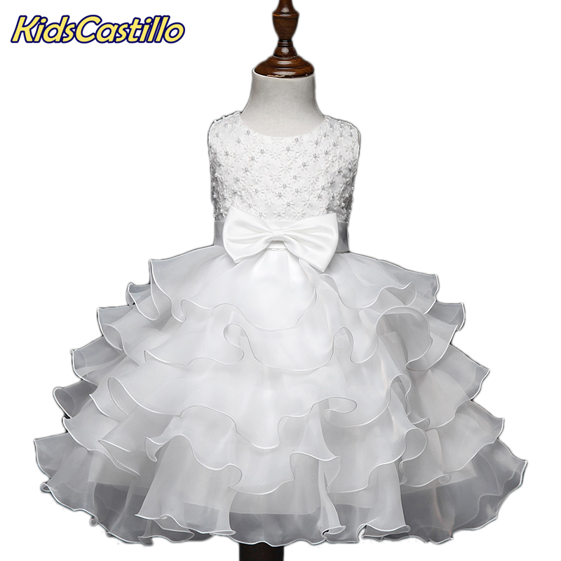Layered tutu dress Beaded Girls Party Dresses Wedding baby girls clothes vestido bebe menina Christening Gown wedding roupa de