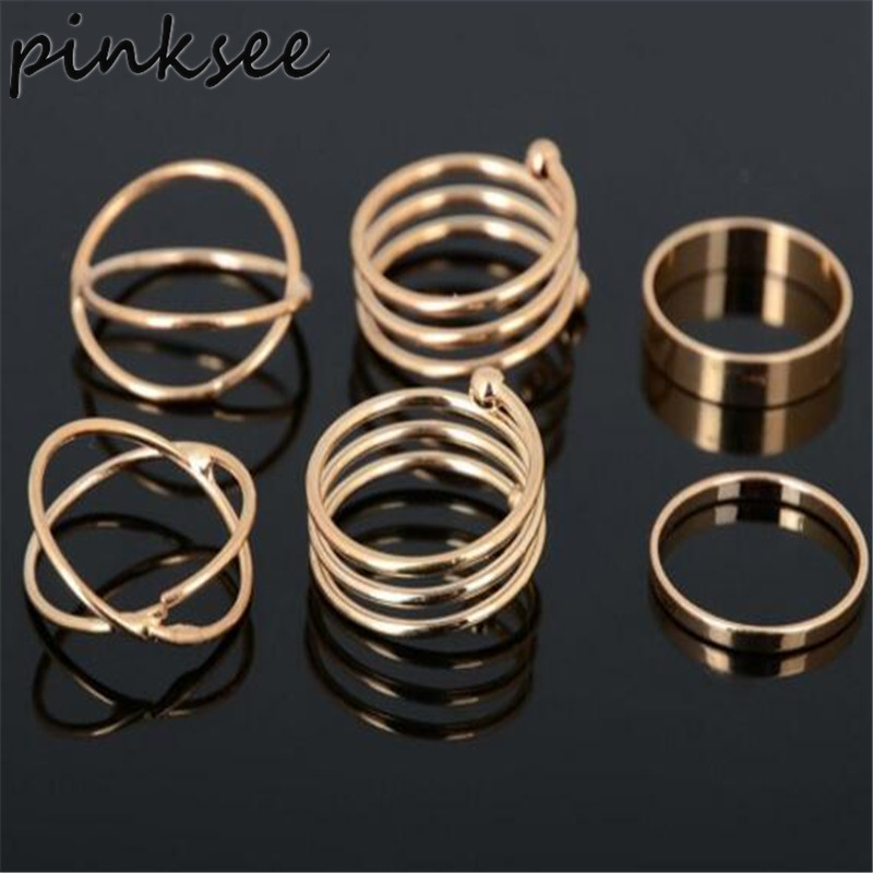 PINKSEE 6Pcs/set Stack Plain Cross Spiral Above Knuckle Ring Punk Stackable Finger Ring Set bague Ring Set anillos mujer anel