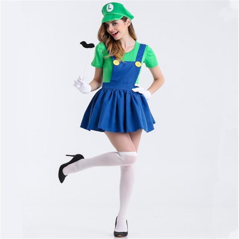 Cosplay Anime Super Mario Bros. Mario Game Uniform Super Mario Halloween Costume Lady Sexy Dress