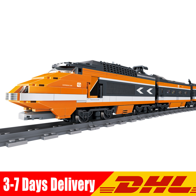 KAZI 98201 1260 Pcs Classical Retro TGV High-speed Trains Building Blocks Track Building Bricks Blocks model Toys Gifts In Stock