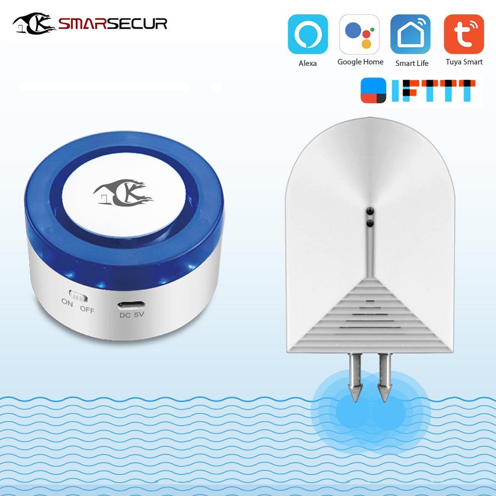 SMARSECUR Tuya Smart life Home WiFi Security alarm siren Smart Siren 433mhz Water Detector