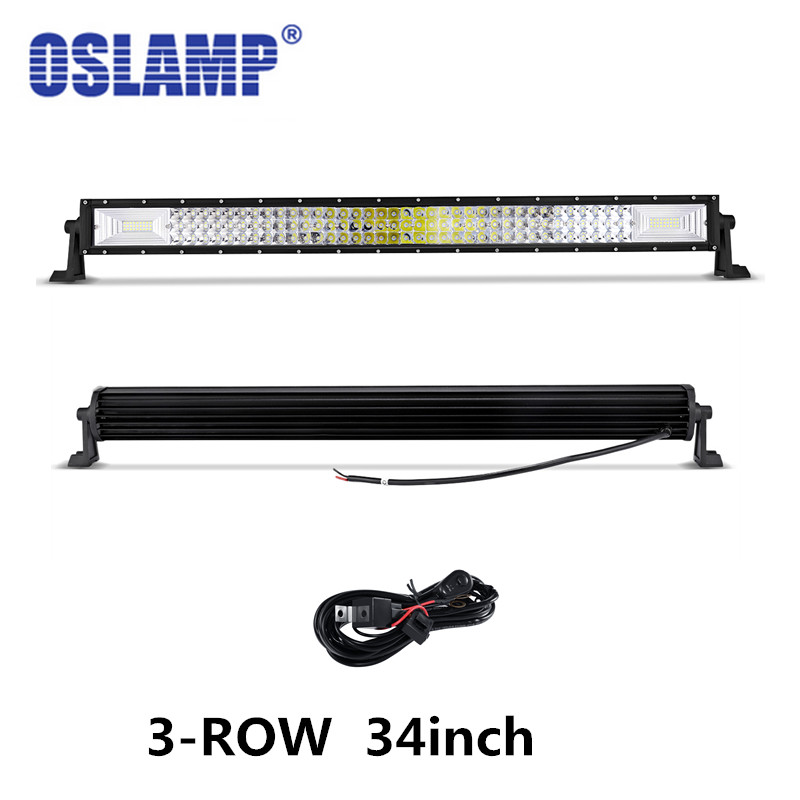 Oslamp 34 inch Tri-Row Straight  LED Offroad Light Bar Combo Led Work Light Bar For 12V/24V Vehicle видеоигра бука saints row iv re elected