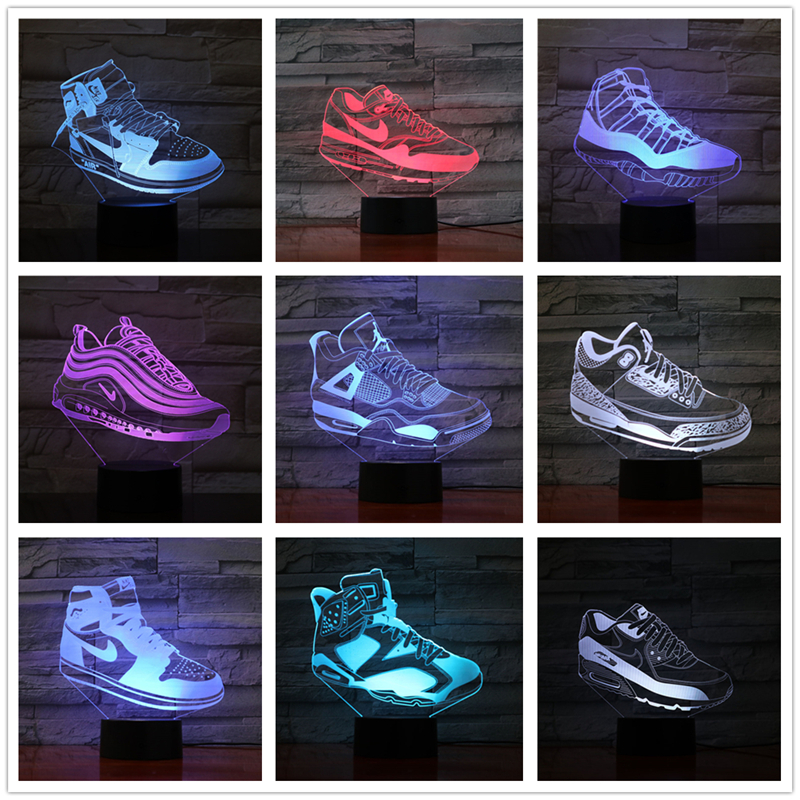 Kinglight Shoes Shape 7 Color Led Night Lamps For Kids Touch Usb Table Lampara Lamp Baby Sleeping Nightlight Drop Ship