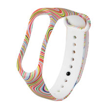 Rainbow Print Soft Silicone Smart Watch Strap Wrist Band Replacement for XiaoMi Mi Band 3 80621(China)