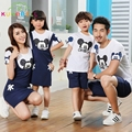 Mom And Daughter Dress 2017 Summer Family Cotton Cartoon Micky T-shirt & Set Striped Look Mother Father Baby Matching Clothes