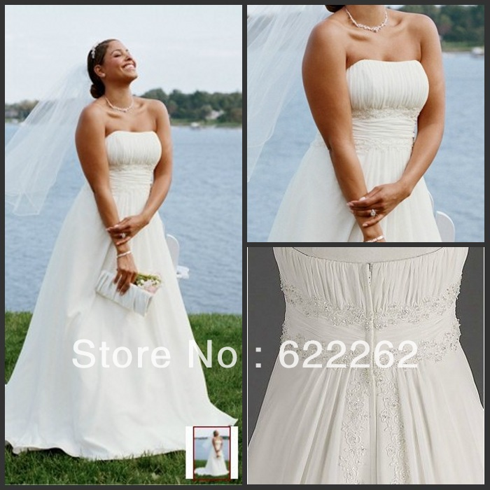 Latest Wedding Gowns 2014: New Chiffon A Line With Beaded Lace On Empire Style Plus