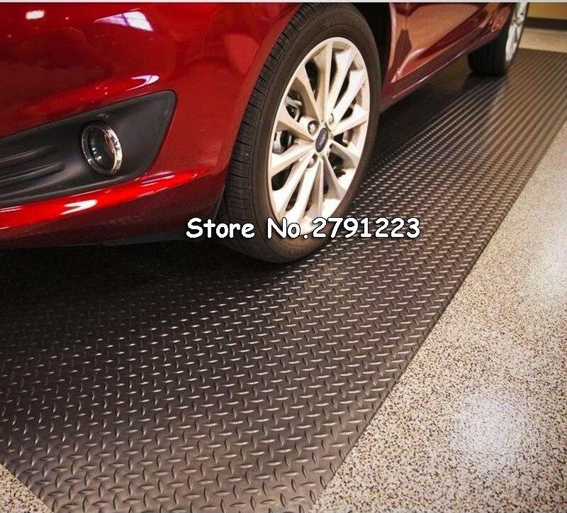 Garage PVC Plastic Floor Basement Mat Diamond Plate Surface Rubber 79x197inch