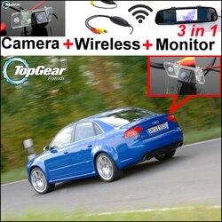 3in1 specjalna kamera WiFi + bezprzewodowy odbiornik + lustro Monitor łatwy System do parkowania dla Audi A4/S4/RS4 2001 ~ 2008 w Kamery pojazdowe od Samochody i motocykle na