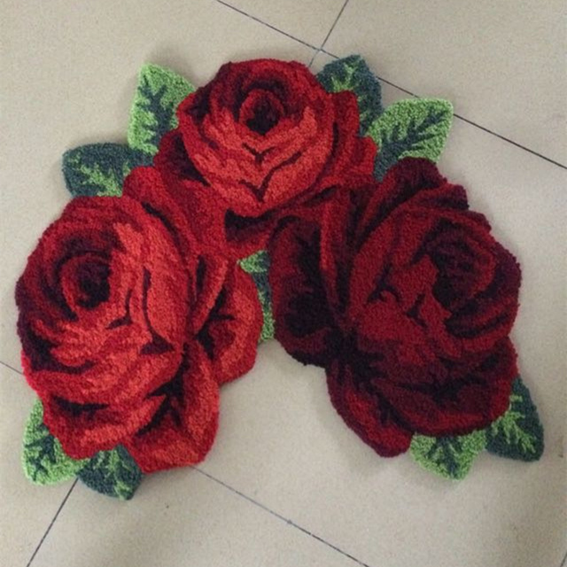 High Quality Handmade Rose Art Carpet Floor Mat For Bathroom Toilet