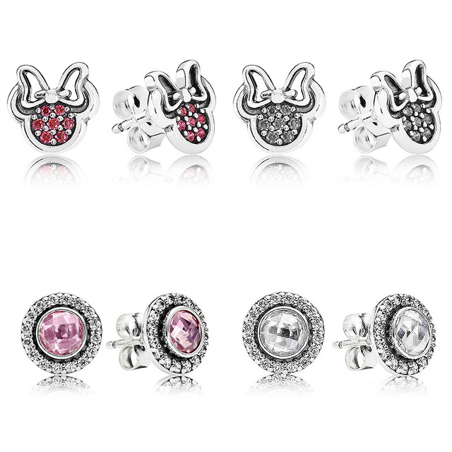 5d9c90ff7 Sparkling Minnie Pink Brilliant Legacy Stud Earring 925 Sterling Silver  Earrings For Women Wedding Party Gift Pandora Jewelry
