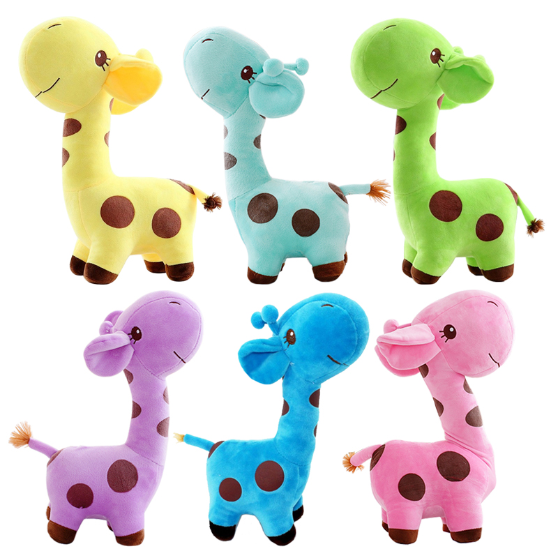 7''18cm Cute Giraffe Plush Toy Soft Animal Deer Doll Colorful Dolls for Baby Kids High Quality 4 colors pusheen plush cute soft animal toy giraffe plush doll birthday gift toys for children 18cm baby dolls free shipping