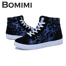 BOMIMI Mens Canvas Shoes Lace-up Rubber The Spring Classic High Top Sneakers Breathable Couple Shoes Zapatos Hombre