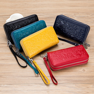 Image 5 - 2020 New Style Womens Wallet Double Zipper Purse Head Cowhide Leather RFID Anti Radio Frequency Scanning Wristband Clutch Bag