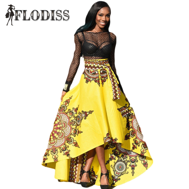 2017 New Fashion Women High Waist Big Swing Skirt African National Printed Long Skirts Ankle-Length Popular Design Hi-Lo Skirt