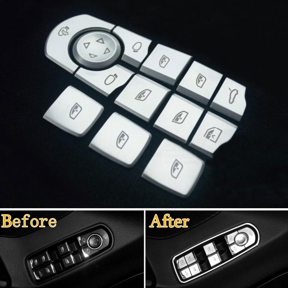 BBQ@FUKA Door Armrest Window Lift Button Cover Protector Decoration Trim Fit For Panamera Cayenne Macan 2015 Car Accessories