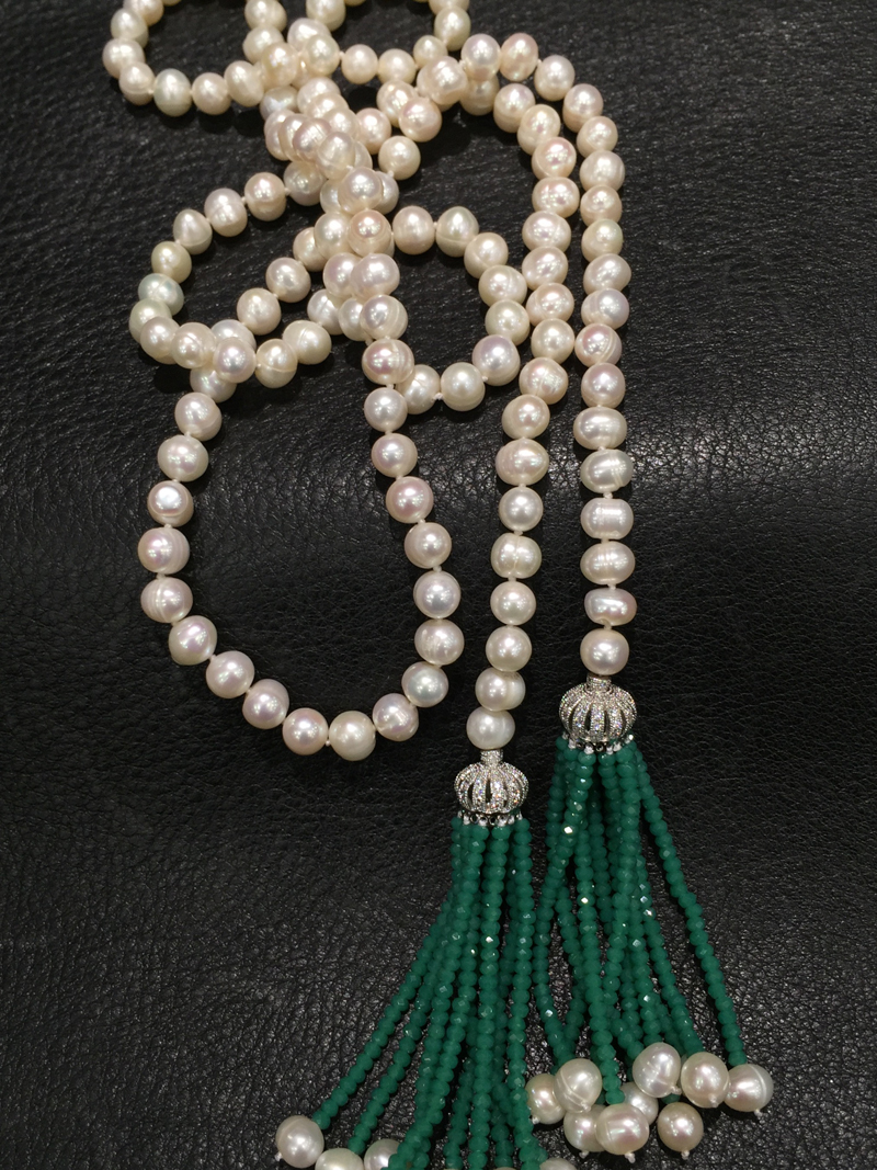 Long freshwater pearl necklace with green tassel fashion women jewelry 110CM accept order any lenth free shipping все цены