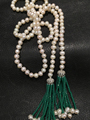 Long freshwater pearl necklace with green tassel fashion women jewelry 110CM accept order any lenth free shipping