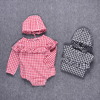 High Quality Newborn Infant Baby Girls Romper Lattice Pattern Toddler Long Sleeve Autumn Romper Baby Jumpsuit