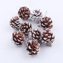 9pcs Christmas Tree Hanging Balls Pine Cones Pinecone Xmas New Year Holiday Part