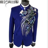 Синие мужские блестки костюмы конструкции masculino Homme TERNO Сценические костюмы для певцов мужчин Блейзер Танцы одежда куртка звезда стильное п