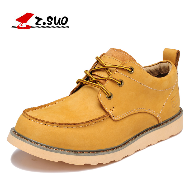 Z.SUO High Quality Genuine Leather Upper Rubber Outsole Men's Casual Shoes Autumn Lace Up Solid Color Male Leisure Shoes ZS808 джинсы lost ink plus lost ink plus lo035ewutw26