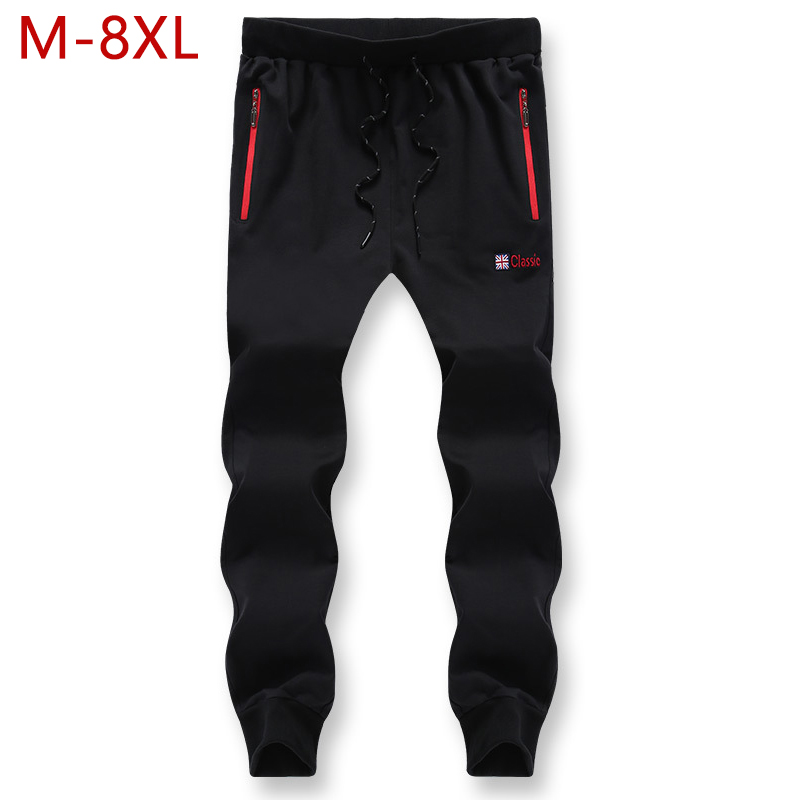 Big Size 8XL Fashion Casual Loose Comfortable Sweatpants Black Trousers Men Tracksuit Breathable Solid Color Classic Pants